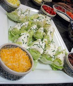 """Hearts of Lettuce Salad - have a """"wedgie bar"""" and serve toppings for the lettuce wedges 