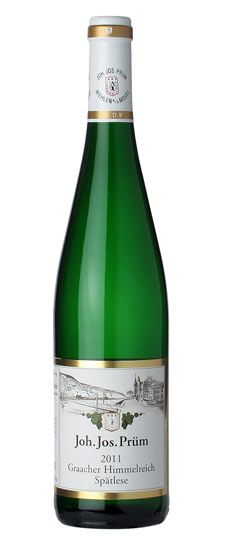 #65 on Wine Spectator's Top 100 Wines of the Year list:  Joh. Jos. Prum Riesling Spatlese Mosel Graacher Himmelreich 2011- Germany  Prum Rieslings have a reputation for aging beautifully, and with the classic 2011 vintage yielding approachable, balanced wines, this bottling can be enjoyed now or cellared. Only 1,000 cases made.  For questions and orders: woody@Vintages2.com 210.410.0296 www.Vintages2.com
