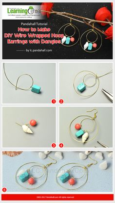 Pandahall Tutorial – How to Make DIY Wire Wrapped Hoop Earrings with Dangles from LC.Pandahall.com