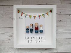 Framed Peg Dolls, Personalised gift, Mr & Mrs Gift, Framed Peg Family, Anniversary Gift, Fathers Day Gift, Peg Portrait, Family keepsake