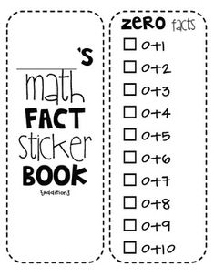 or a good bookmark for students to use with math facts learned in their grade.