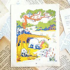 vintage children's book page  ephemera