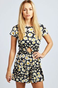 Savannah Capped Sleeve Daisy Print Playsuit