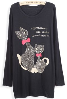 Black Long Sleeve Letters Cats Print Loose T-Shirt EUR€5.80