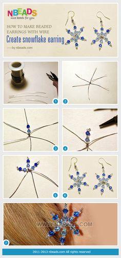 Jewelry Making Earrings how to make beaded earrings with wire - create snowflake earring - I Love Jewelry, Diy Jewelry, Beaded Jewelry, Jewelry Making, Unique Jewelry, Jewlery, Beaded Earrings, Earrings Handmade, Handmade Jewelry
