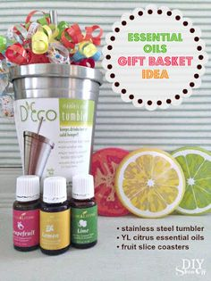 Young Living Essential Oils:  Gift Basket Idea   For more information or to order Young Living, come visit:  www.TheSavvyOiler.com