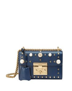 GUCCI Padlock Small Studded Leather Shoulder Bag, Blue. #gucci #bags #shoulder bags #leather #lining #