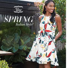 Avon Romantic Floral Dress | A-line is one of fashion's most enduring and flattering styles. Sizes 6 – 3X make this item accessible to wide range of body types. Easy-care machine-washable.