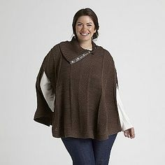 Love Your Style, Love Your Size Women's Plus Poncho Sweater - Clothing - Women's Plus - Sweaters
