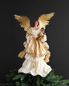 Celebrate an elegant Christmas with Balsam Hill's Gold Angel Tree Topper. Perfect for your Christmas tree and an excellent centerpiece to your home decor. Chinese Christmas, Christmas Tree Tops, Angel Christmas Tree Topper, Elegant Christmas, Christmas Angels, Beautiful Christmas, Christmas Holidays, Christmas Ideas, Christmas Decorations