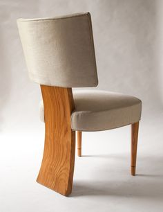 Set Of 6 Swedish Art Deco Dining Chairs In Elm Featuring 3 Legs. image 5