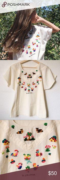 El Salvador embroidered farm peasant top Sold on Depop. Canvas material. Super adorable! OSFA. No trades. #boho Tops Tunics