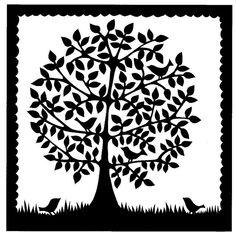Folk art round tree with five birds papercutting. © Suzy Taylor | by VegasLammy