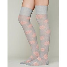 Free People over the knee socks! Gray, coral print Hard to find!  Free People over the knee thigh socks!  Thick and warm.  Beautiful gray and coral colors are so complimenting.   Never worn!! Free People Accessories Hosiery & Socks