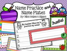 """Enjoy this FREEBIE from Miss Hellen's Hippos, and thank you for rating me!Name plates for cubbies or desks (name plate size: 8.25"""" x 3"""")...6 choices!  Print on cardstock for extra durability!  Name plate choices:Rainbow StripesRainbow Polka DotsRainbow ChevronRed Polka DotRed Polka Dot with Green AppleGreen Polka Dot with Red Apple and WormThe Rainbow Name Plates coordinate with my Welcome, Let's Read, and Alphabet Banners!"""