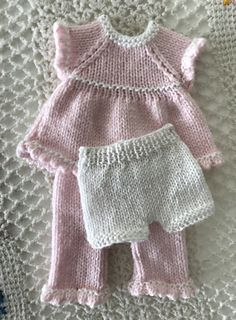 with a knit two together, yarn over row that when hemmed creates a picot edging. The pattern was designed for a baby doll, and is pictured on Baby Alive®. Barbie Knitting Patterns, Baby Cardigan Knitting Pattern Free, Knitted Doll Patterns, Knitting Dolls Clothes, Knitted Baby Clothes, Baby Doll Clothes, Crochet Doll Clothes, Knitted Dolls, Doll Clothes Patterns