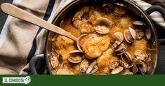 Merluza a la sidra | Recetas El Comidista EL PAÍS Fish And Seafood, Paella, Curry, Cooking Recipes, Yummy Food, Ethnic Recipes, Tasty Meals, Gadgets, Lighting