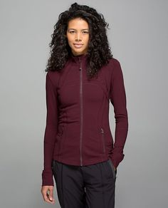 Define Jacket, size 10, color: Bordeaux Drama.  Designed for: to-and-from.  Fabric(s): Luon®, LYCRA®.  Fit: slim.  Length: hip