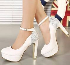 Cheap Shoe Racks For Stores, Buy Quality Shoes Order Directly From China  Shoes Women Shoes Suppliers: Glitter Ankle Strap White Heels Sexy Wedding  Bride ...