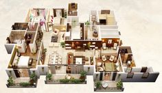 Beautiful Fresh 4 Bedroom Apartments Four Bedroom Floor Plans Inspirational 4 Bedroom Apartment House 4 Bedroom Apartments, Cool Apartments, Bed Rooms, 3d House Plans, Small House Plans, Apartment Layout, Apartment Plans, Apartment Ideas, Bedroom Layouts
