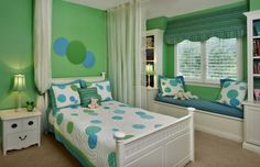 Love this girly light green and aqua preteen girls room with white furniture, despite my aversion to white furniture. Also, does anyone else think the nightstand has a face?!