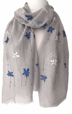 New Flower  Design Shawl Scarf Wrap Grey D 180cm x 100cm
