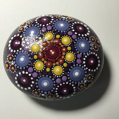Hand Painted Mandala Stone, Mandala Meditation Stone, Dot Art Stone, Healing Stone, #287 by MafaStones on Etsy