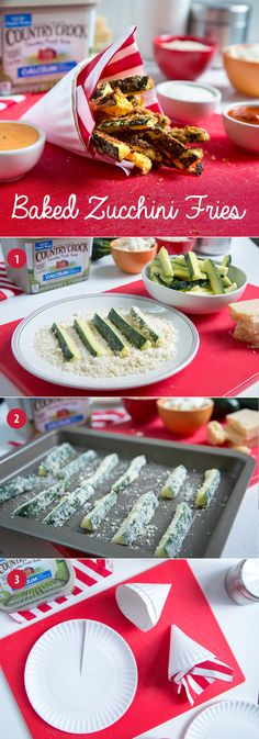 Kids cooped up in the house during the holidays? Serve these Baked Zucchini Fries in a paper cone for a sneaky serving of veggies & a mini-craft in one!  Made with the great taste & real ingredients of Country Crock® Calcium plus Vitamin D, this healthy, baked veggie snack is full of flavor. Have kids help assemble the cones, & serve them like fries with a variety of dipping sauces. Real, wholesome food always tastes better when enjoyed together—so don't forget to make some for yourself…