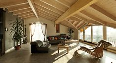 Picture of interior new loft, ethnic furniture, living room stock photo, images and stock photography. Roof Beam, Living Area, Living Room, Roof Panels, Luxury Apartments, Interiores Design, Renting A House, Attic, Building A House