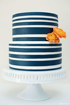 Navy Striped Cake by Miso Bakes  |  TheCakeBlog.com Love This!!