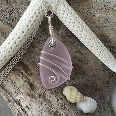 Handmade in Hawaii wire wrapped pink sea glass necklace, Sterling silver chain, gift box.Hawaiian  jewelry.Sea glass jewelry. Gift for her. by yinahawaii on Etsy
