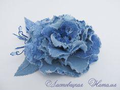Купить Джинсовая брошь Кортни - цветы, цветок, брошь, синий, цветок из ткани, брошь из ткани