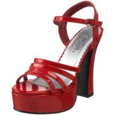 Dolly-25 Patent Red Strappy Heels worn once for a Halloween costume, super comfortable to wear all night since the heel is wide. true to size! Pleaser Shoes Heels