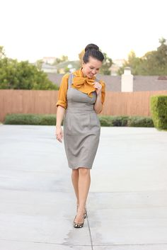 Mustard Bow Blouse and Leopard - Stylish Petite Gap Outfits, Cute Work Outfits, Classy Outfits, V Dress, Gray Dress, Sheath Dress, Business Casual Attire, Business Formal, Viernes Casual