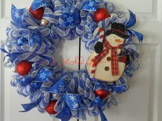 Deco Mesh Winter wreath in royal blue and white with by SoMeshedUp, $54.00