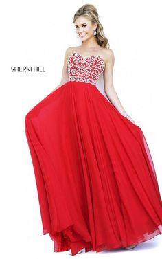 Beads Strapless Red Sherri Hill Prom Dress 8555: