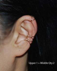 Christmas Ear cuff, 14k GOLD FILLED Criss Cross X Ear cuff,No Piercing Cartilage Ear Cuff, Ear Jacket by TakeOnMe7 on Etsy