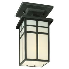 Thomas Lighting Mission Black 1-Light Outdoor Semi-Flush Mount-SL96657 - The Home Depot