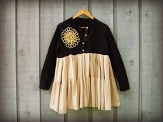 Upcycled Cotton Cardigan Sweater with Doily // Black by emmevielle, $58.00