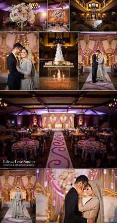 TPC Sawgrass, Indian wedding, Pakistani wedding, decor, pink, gold, blush, cake, chandelier, cake stand, roses, floral, Life and Love Studio