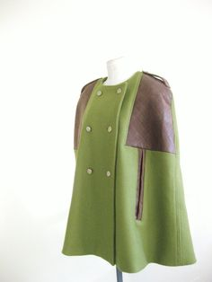 Women Cape Coat. Olive Green Wool  & Leather - Songs From The Wood - on Etsy, $230.00