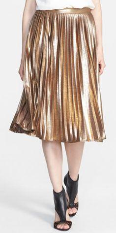 metallic pleat skirt  http://rstyle.me/n/nnad6pdpe