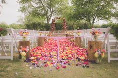 Petal-filled aisle I Wedding #CeremonyDecor I Birds of a Feather Events