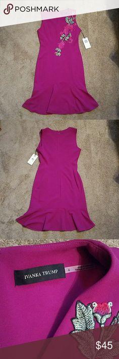 NWT Ivanka Trump Fuschia Floral Embroidered Dress NWT Ivanka Trump Fuschia Floral Embroidered Dress,  Size 4 Ivanka Trump Dresses