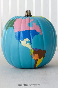 What a beautiful world—and what a beautiful pumpkin! This pumpkin takes on a worldly beauty. #marthastewart #pumpkins #diypumpkins #falldecor #halloween Halloween Goodies, Fall Halloween, Halloween Ideas, Halloween Decorations, Kid Art, Art For Kids, Future Classroom, Classroom Ideas, Pumpkin Contest