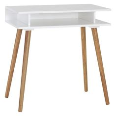 CATO White desk with solid wood legs