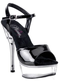 f7991f3db64e8 ... steel stiletto 5 heel with 1 front platform rise. This stylish clear  high heeled adjustable ankle strap features a rhinestone embedded around  the top ...