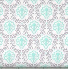 Mint Green, Gray and White Motif Cotton Quilt Fabric for Sale, CAM4141902-3, Lavishmint Collection by Camelot Fabrics, Grey, by fabric406 on Etsy