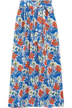 Etro - Printed Silk-seersucker Maxi Skirt - Azure - IT38
