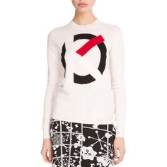 Kenzo Wool Logo-Intarsia Sweater (1,580 SAR) ❤ liked on Polyvore featuring tops, sweaters, white, woolen sweater, white top, logo sweaters, white long sleeve top and wool pullover sweater